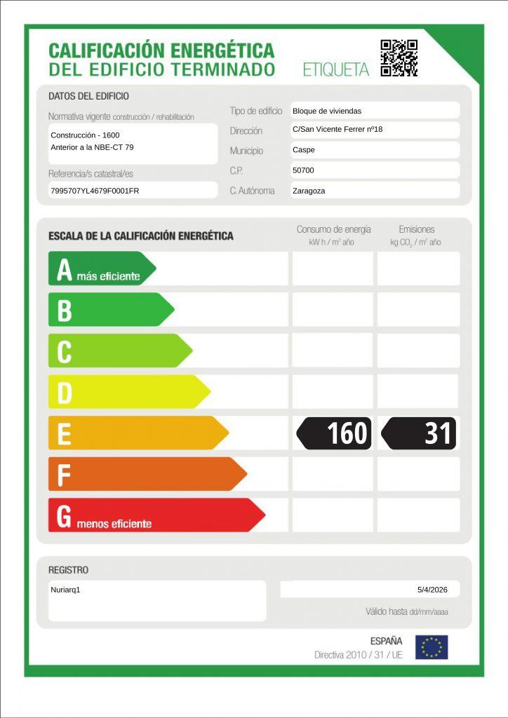 etiqueta certificado energético vivienda en alquiler en Caspe